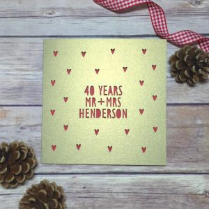 Personalised 40th Anniversary Card, Ruby Wedding Anniversary, Papercut Card, Mr & Mrs Card, 40th Anniversary Gift, Happy 40th Anniversary