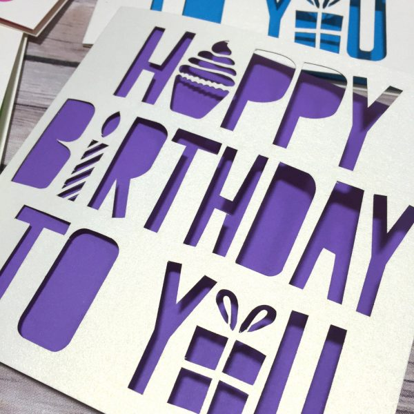 Happy Birthday Card Pack, Birthday Cards, Isolation Cards, Card Set, Lasercut Cards, Papercut Cards, Happy Birthday To You, Lasercut, Kids