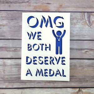 Cheeky OMG We Both Deserve A Medal Anniversary Card, Papercut Card, Funny Anniversary Card, 1st Anniversary, Husband Card, Wife Card