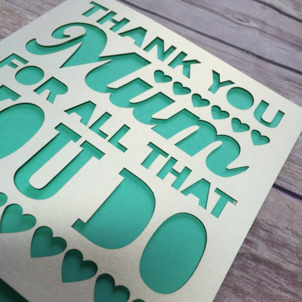 Mothers Day Card, Papercut, Thank You Mom, Happy Mother's Day, Mom Birthday, Mom Gift, Thanks Mom, Mothering Sunday, Mom Card, Mum Card