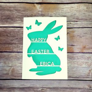 Personalised Easter Card, Handmade, Papercut, Easter Bunny Card, Happy Easter, Kids Easter Card, Rabbit, Easter Gift for Children