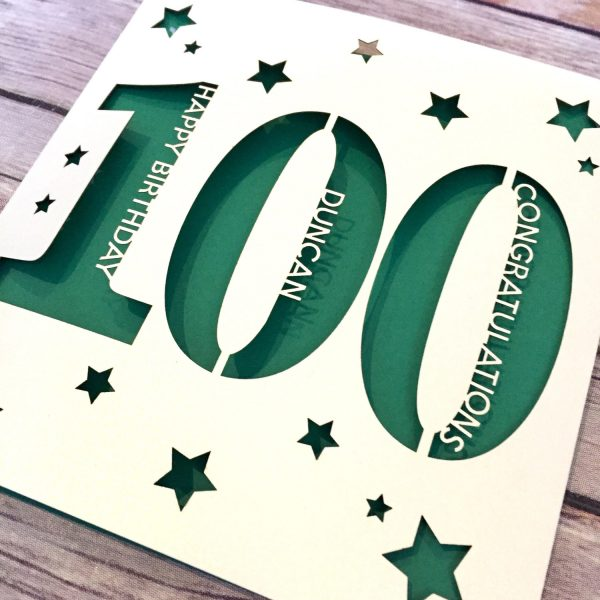 Personalised 100th Birthday Card, Dad 100th, Mum 100th, One Hundredth Birthday, 100th Gift, Handmade Card, Lasercut, Well Done Captain Tom