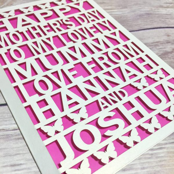 Personalised Mother's Day Card, Mommy Card, Mother's Day, Mother's Day Gift, Lasercut Card, Mothering Sunday, Cute Mother's Day Card