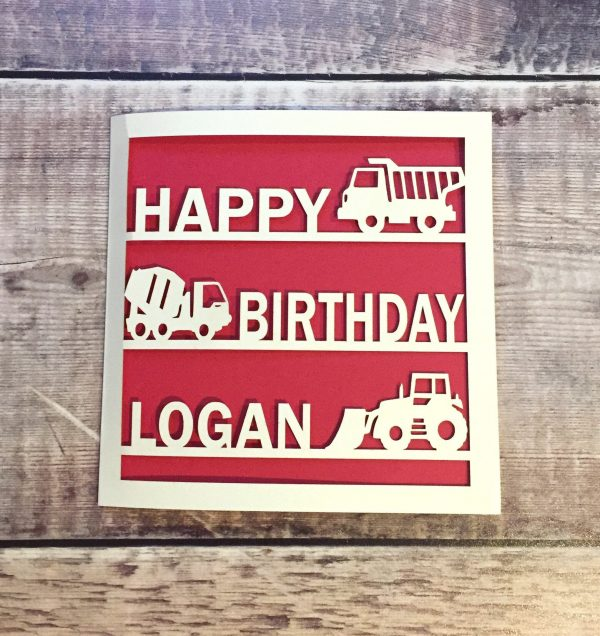 Personalised Kids Vehicles Birthday Card, Card for Son Daughter, Tractor Fan, Trucks Digger Construction, Handmade, Childrens Cards, Builder