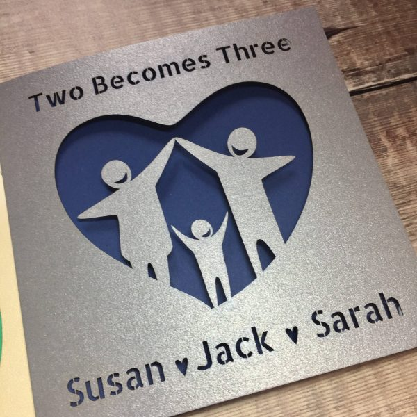 Personalised Adoption Card, Two Becomes Three, New Baby, Addition to the family, You're expecting, Fostering, Handmade, Lasercut