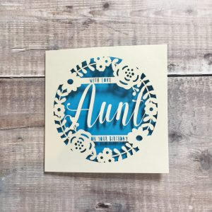 Personalised Aunt Floral Birthday Card, Happy Birthday Auntie, Special Aunt, 50th, 60th, 70th, Luxury Handmade Card, Lasercut, Papercut