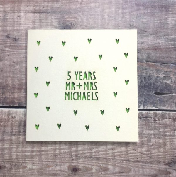 Personalised 5th Anniversary Card, 5 Years, Wood, Mr & Mrs, Anniversary Gift, Husband Anniversary, Wife, Lasercut, Anniversary Card for Wife
