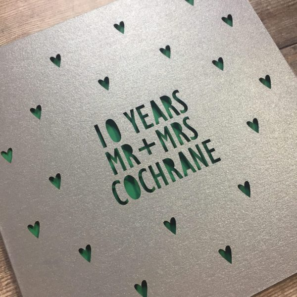 Personalised 10th Anniversary Card, 10 Years Tin, Mr & Mrs, Anniversary Gift, Husband Anniversary, Wife, Lasercut, Anniversary Card for Wife