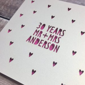 Personalised 30th Anniversary Card, 30 Years, Pearl, Mr & Mrs, Anniversary Gift, Husband Anniversary, Lasercut, Anniversary Card for Wife