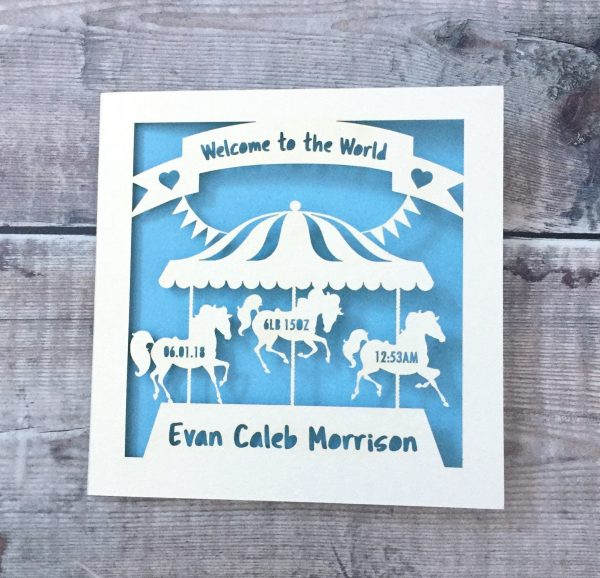 Welcome To The World Personalised Baby Card, New Baby Boy, Handmade Baby Girl Card, Papercut Gift, Carousel Horse, Lasercut, Newborn Gift