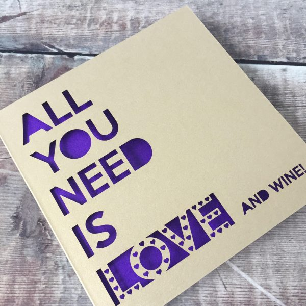 Funny Valentine's Day Card, Galentine, Gin Lover, Wine, Prosecco, All you need is love and gin, Lasercut, Funny Drink Card, Wife Valentine