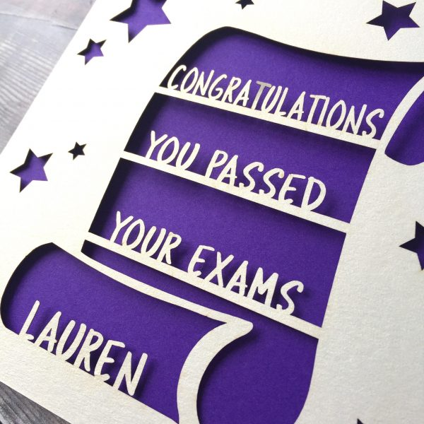 Personalised Congratulations You've Passed Your Exams Card, Daughter, Son, GCSEs, A Levels, Friend, Well Done, Exam Success, Lasercut, Test