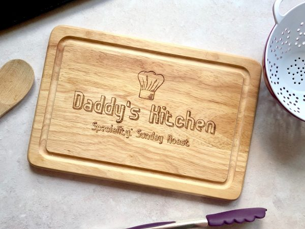 Personalised Daddy's Dad's Kitchen Christmas Gift, Chopping Board, Grandpa Present, Engraved, Dad Birthday, Food Gift, Husband Gift, Chef