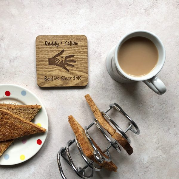 Personalised Daddy Father's Day Gift, Oak Coaster, 1st, First, Besties, Daddy, Dad, Grandpa, Papa, Birthday Gifts, Engraved Wood, Present