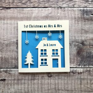 1st Christmas as Mrs & Mrs Personalised Card, First Married Couple, Newlyweds, Merry Christmas, Decoration, Gift, Same Sex, Papercut, Laser