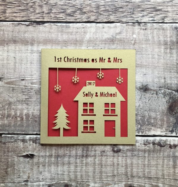 1st Christmas as Mr & Mrs, Personalised Card, First Christmas Married Couple, Newlyweds, Merry Christmas, Decoration, Gift, Papercut, Laser
