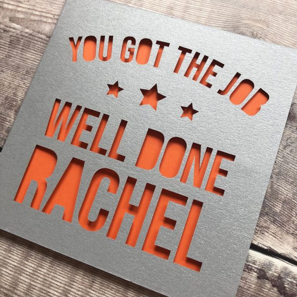 Personalised Congratulations on your New Job Card, Well Done, Leaving, New Career, Work Change, Moving Job, Lasercut, Papercut, Good Luck