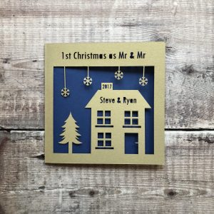 1st Christmas as Mr & Mr Personalised Card, First Christmas Married Couple, Newlyweds, Merry Christmas, Decoration, Gift, Same Sex, Papercut