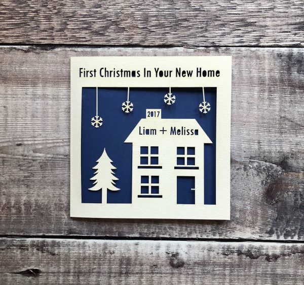 Personalised 1st Christmas in Your New Home Card, First, New Pad, Merry Christmas New House, Decoration, Gift, Happy, Lasercut, Papercut