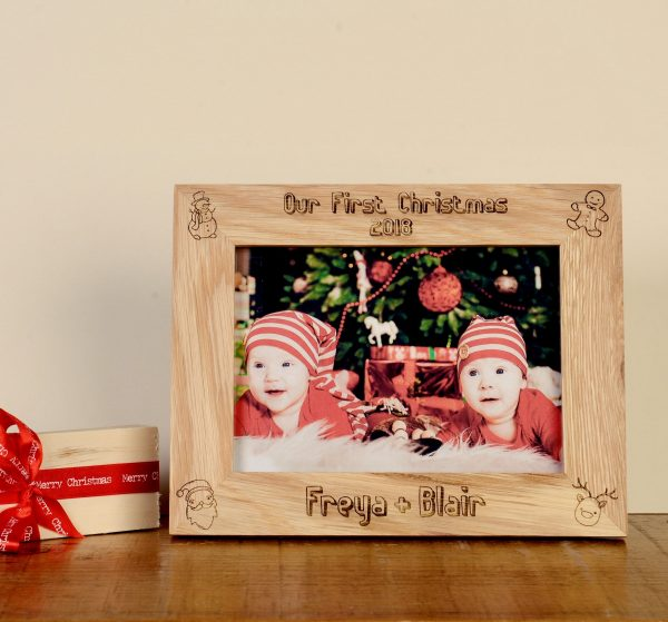 Personalised Baby's First Christmas Photo Frame, Twins, Engraved Oak, Gift for Baby's 1st Christmas, Keepsake, Memory Box, Album, Present