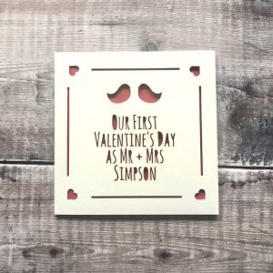 Personalised First Valentines Card as Mr & Mrs, Valentine's Day Cards for Husband, Wife, Handmade, Lasercut, 1st Valentines Card for Wife