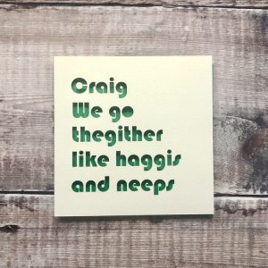 Personalised Valentine's Day Card, Scottish Cards, we go thegither like haggis and neeps, Husband Valentines, Friend, Handmade, Food Cards