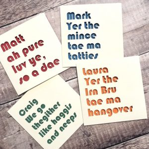 Scottish Personalised Valentine's Day Card, Scotland gift, Scots Phrases, ah pure luv ye so a dae, lasercut cards, Bestie Palentine