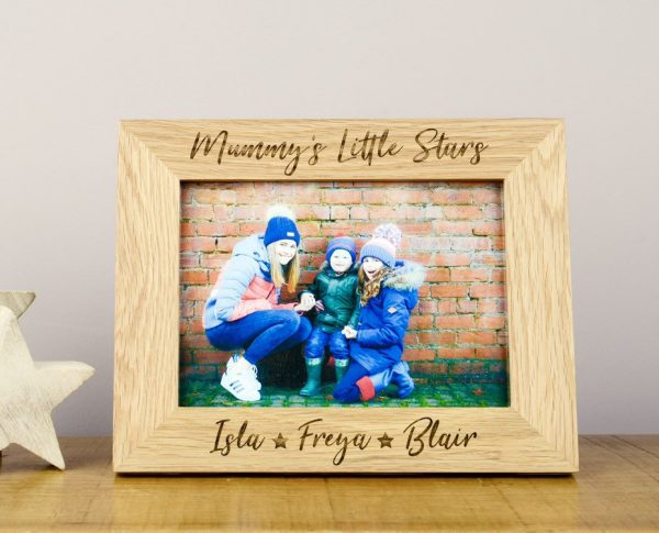 Personalised Mummy's Little Stars Solid Oak Photo Frame, Mother's Day Gifts, 1st Christmas, Engraved, Gran Gift, Nana, Grandma, Granny