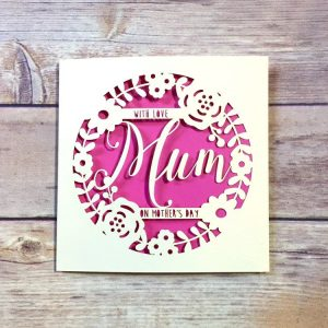 Personalised Mother's Day Card, Mum Cards, Luxury Mothers Day Gifts, Special Mum, Mothering Sunday, Handmade, Lasercut, Floral Wreath