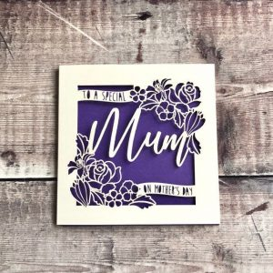 Personalised Mother's Day Cards, Mom, Mummy Card, Special Mum, Mothering Sunday, Handmade Card, Papercut, Floral Rose, Lasercut, With love