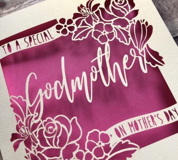 Mother's Day Card for Godmother, Godparents, Godmother Birthday, Mothering Sunday, Handmade Card, Personalised Card, Papercut, Floral Card
