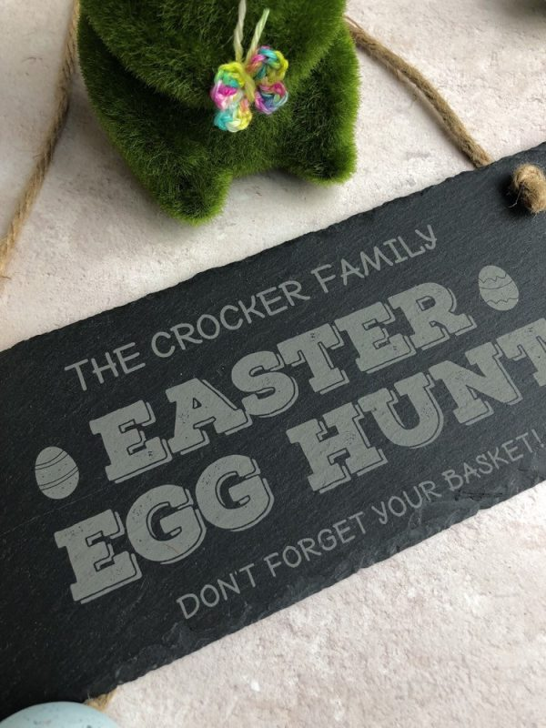 Personalised Easter Egg Hunt Sign, Slate Engraved Gifts, Easter Bunny, Family Signs, Arrow This Way, Basket, Easter Activities