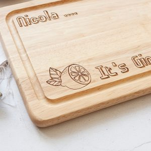 Personalised Gin O'Clock Chopping Board, Gin Lover Mother's Day Gift, Friend Birthday, Let the Evening BeGIN, Mum Funny, Colleague, Engraved