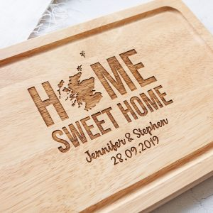 Personalised Scottish Gifts, Home Sweet Home, Engraved Chopping board, Scotland Christmas, Cheese platter, Scots Slang, Friend, Housewarming