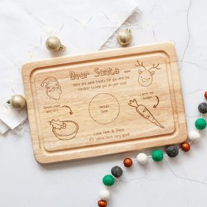 Personalised Santa Christmas Eve Board, Plate, Milk Cookies for Santa, Carrot for Rudolph, Engraved, Box, Father Christmas, Xmas, Laser