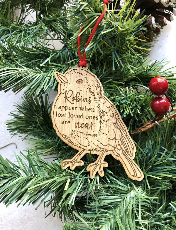 Remembrance Christmas Tree Decoration, Robins appear when lost loved ones are near, Sympathy Gift, Missing Someone, Engraved Bauble, Robin
