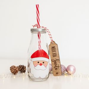 Santa's Milk Bottle, Drink for Father Christmas, Christmas Eve Traditions, Board, Plate, Milk Cookies for Santa, Laser Engraved, Custom