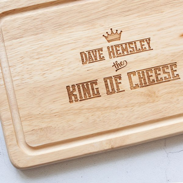 Personalised King of Cheese Chopping Board, Dad Christmas Present, Engraved, Foodie Gifts, Husband Birthday, Cheese Lover, Anniversary Gift