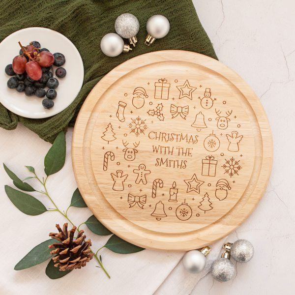 Personalised Christmas Cheese Plate, Wooden Chopping Board, Serving Platter, Mum Dad Gift, Laser Engraved Present, Christmas Dinner