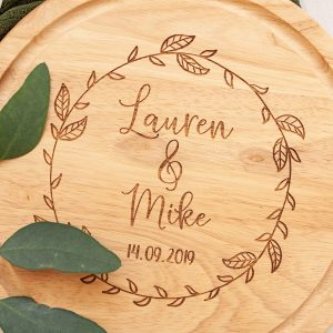 Personalised Engagement Gifts, Chopping Board, 5th Anniversary Wood, Wedding Present Friends, Christmas, Engraved, Foodie Couple, Rustic