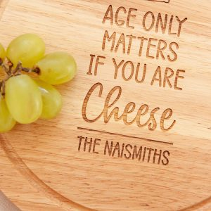 Personalised Cheese Board, Wedding Present, Cheesy Christmas Gifts, Laser Engraved, Foodie, Husband, Chopping Board, Age Only Matters