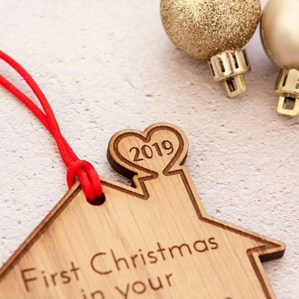 Personalised Engraved New Home Tree Decoration, Custom Christmas Bauble, Housewarming Gift, Engraved Tree Ornaments, Rustic Christmas Decor
