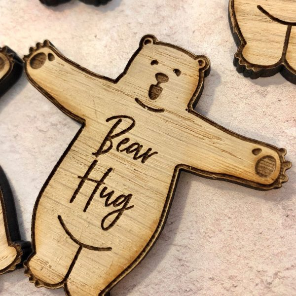 Bear Hug Tokens, Wooden Craft Embellishments, Card Toppers, Self Isolation Gifts, Pocket Hugs, Lockdown, Grandparents, Parents, MIssing You