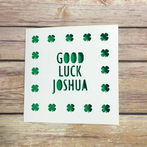 Personalised Good Luck Card, Lucky Clover, New Job, Driving Test, Exams, Handmade, Papercut Card, Travels, Good Luck, Four Leaf Clover